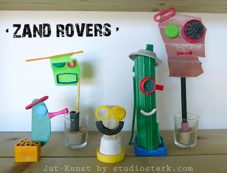 Zand Rovers Jut-Kunst van gejut plastic door studiosterk