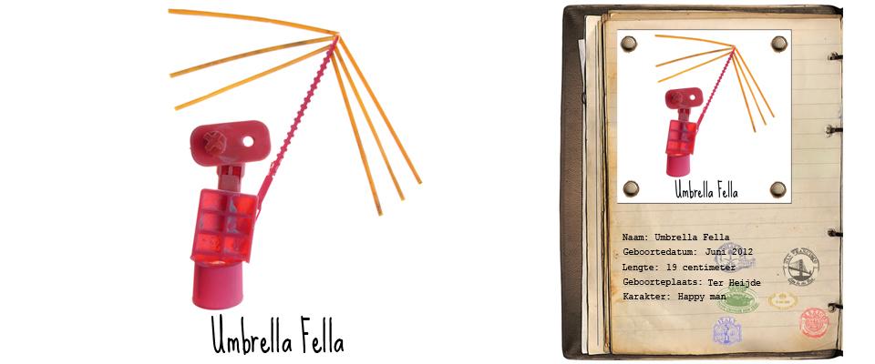 Umbrella Fella Zand Rover studiosterk jut-kunst strandjutten